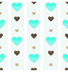 Seamless heart blue stripped pattern vector image