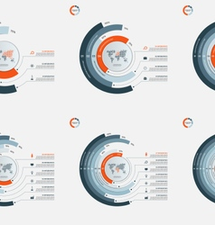 set of circle infographic templates 3-8 options vector image vector image