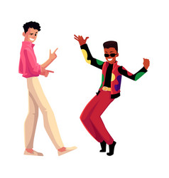 two men guys caucasian and black at retro disco vector image
