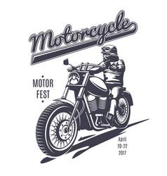 vintage moto fest logotype template vector image