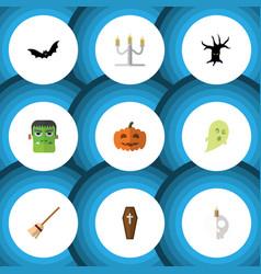 flat icon halloween set of terrible halloween vector image