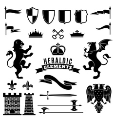 Heraldic Elements Black White Set vector image vector image