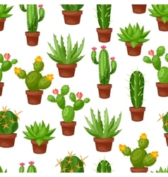 Seamless pattern of abstract cactuses in flower vector image vector image