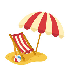 wooden beach chaise with umbrella vector image vector image