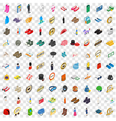 100 clothes icons set isometric 3d style vector