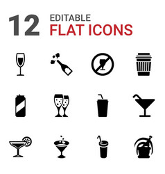 12 alcohol icons vector