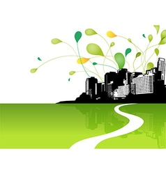 Abstract sky with city scape and green leafs at vector image