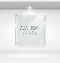 Advertising stand glass realistic glass on vector