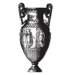 Amphora is a grecian vase with two handles vector