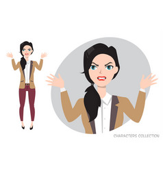 Angry woman in stress vector