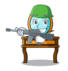 Army dressing table character cartoon vector