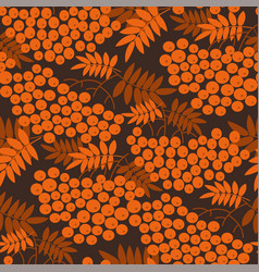 autumn cool orange rowanberry seamless pattern vector image
