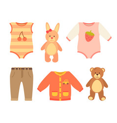 Baby clothes and set of toys vector