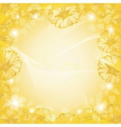Background with flowers and curves vector image