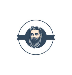 Beard man barbershop logo template vector