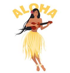 Beautiful and smiling hawaiian girl wearing skirt vector