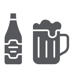 beer glyph icon bar and alcohol glass and bottle vector image