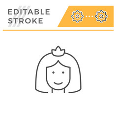bride editable stroke line icon vector image