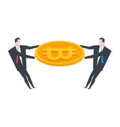 businessman and bitcoin share profit crypto vector image