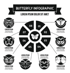 Butterfly infographic concept simple style vector