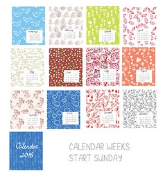 Calendar 2016 template set with floral patterns vector image