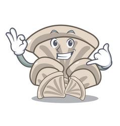 Call me oyster mushroom mascot cartoon vector