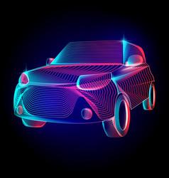 car or automobile vehicle contour silhouette vector image