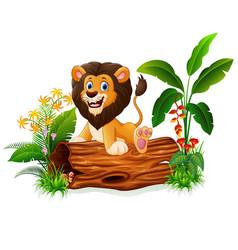 Cartoon lion sitting on tree trunk vector