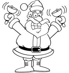 Cartoon Santa Claus ringing bells vector image