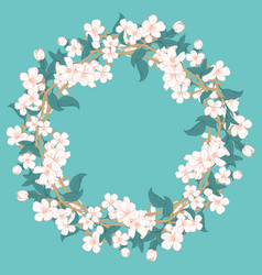 cherry blossom round pattern on blue turquoise vector image