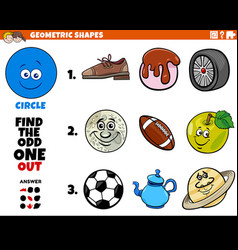 circle shape objects educational game for kids vector image