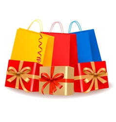 Collection of holiday shopping bags and gift boxes vector