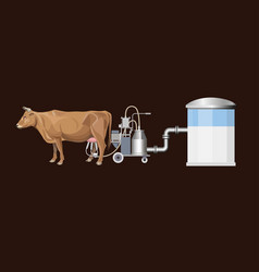 cow and milking machine vector image