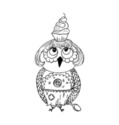Cute doodle owl with cake on the head Young lady vector image