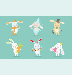 cute little bunnies characters set adorable happy vector image