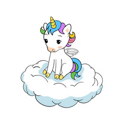 Cute little unicorn sitting on cloud print baby vector