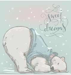 cute sleeping polar bear vector image