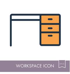 desk outline icon workspace sign vector image