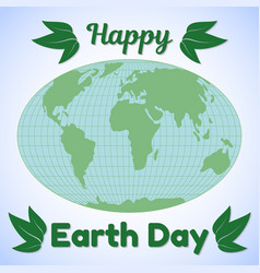 earth day theme greeting card or banner world map vector image