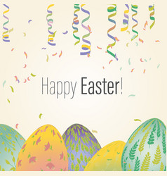 Easter greeting card with eggs in plant ornaments vector