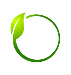 eco leaf circle symbol logo design vector image