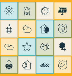 ecology icons set collection of clear climate vector image