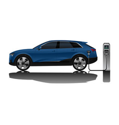 electric suv with charging station vector image