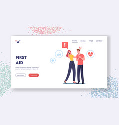 First aid landing page template female character vector