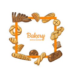 frame with hand drawn colored bakery vector image
