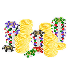 Gambling chips and gold coins vector