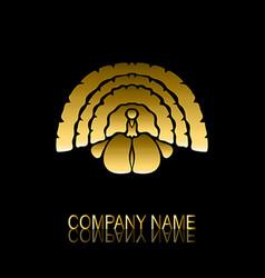 golden turkey symbol vector image