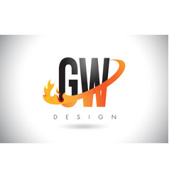 gw g w letter logo with fire flames design and vector image
