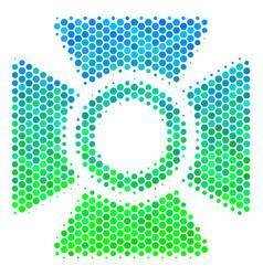 Halftone blue-green searchlight icon vector