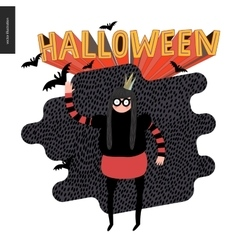 Halloween with a waving girl vector